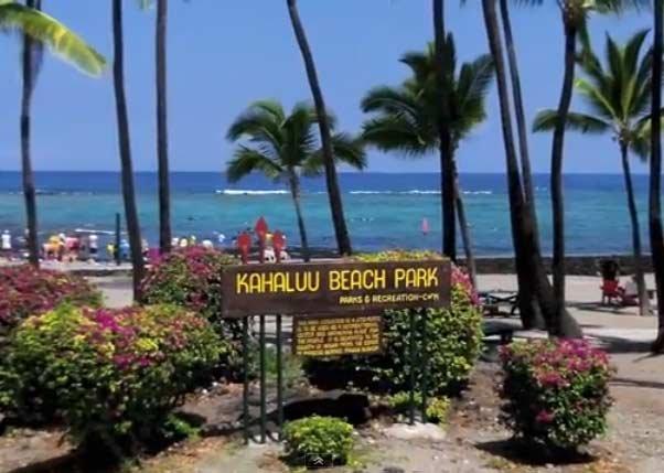 Kahaluu Park Sign in Kona Big Island Hawaii